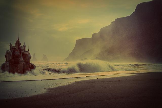Fantasy, Surreal, Landscape, Sea, Beach, Waves, Fog