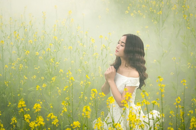 Fog, Girl, Flowers, Beauty, Tender, Asian, Japanese