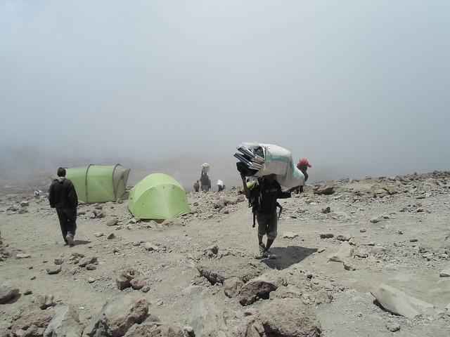 Carrier, Kilimanjaro, Mountain, Fog, Travel, Mist