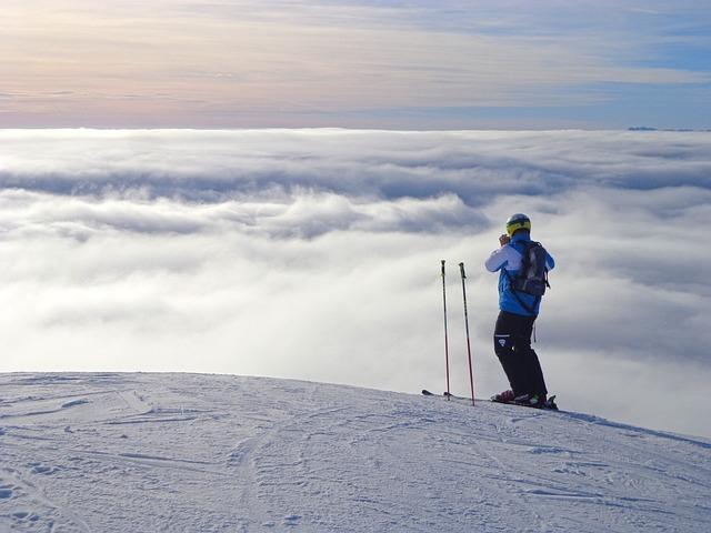 Slovenija, Krvavec, Skiing, Skier, Fog, Track, Sunset