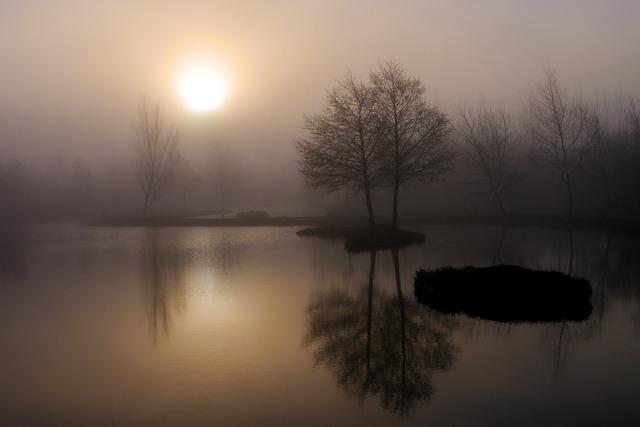 Dawn, Sunset, Water, Fog, Reflection, Lake, Landscape