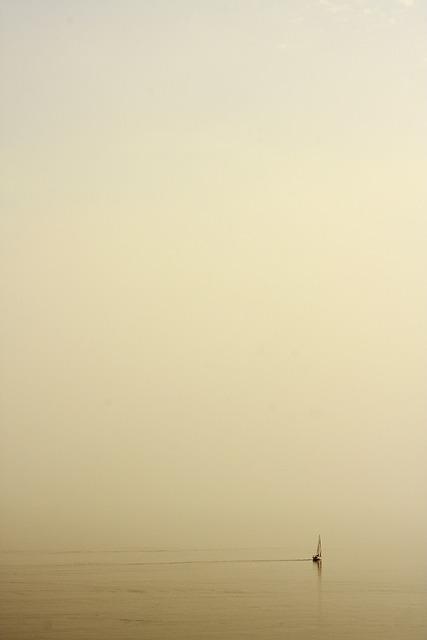 Boat, Fog, Marine, Loneliness, Nature, Water, Yellow