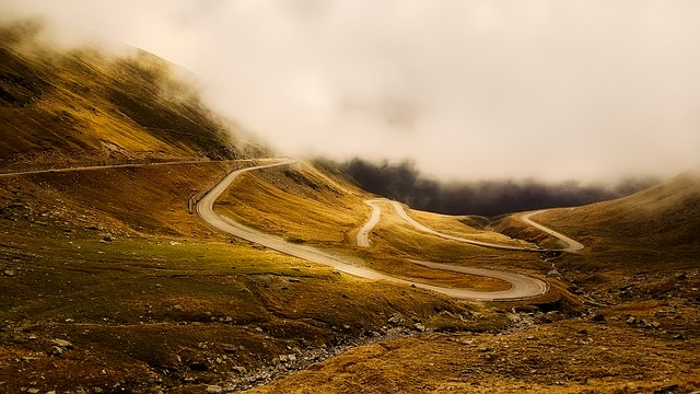 Winding Road, Twisting, Sunrise, Morning, Fog, Panorama