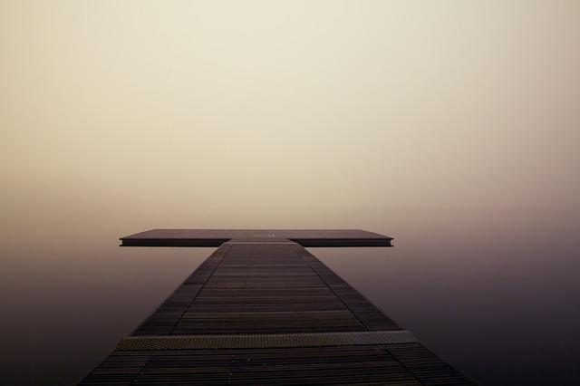 Pier, Wooden, Lake, Ocean, Sea, Quiet, Fog, Calm