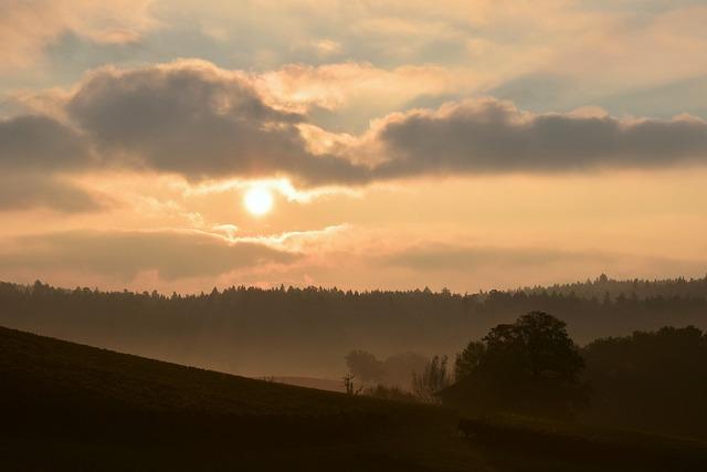 Sunrise, Morgenstimmung, Fog, Landscape, Sky, Skies