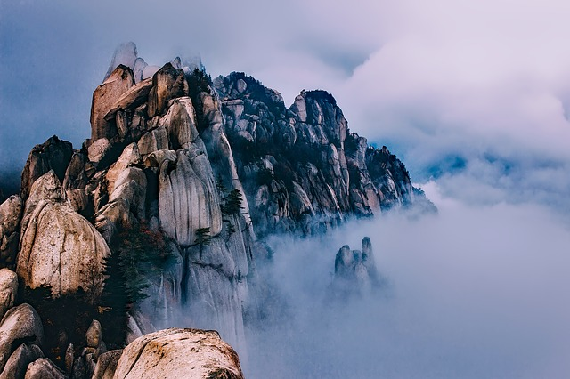 South Korea, Mountains, Sky, Clouds, Fog, Peaks
