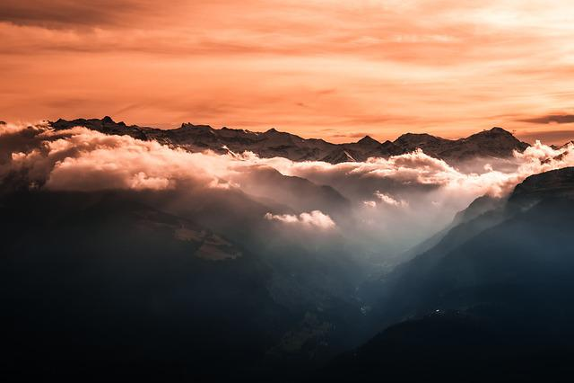 Mountains, Sun, Fog, Orange
