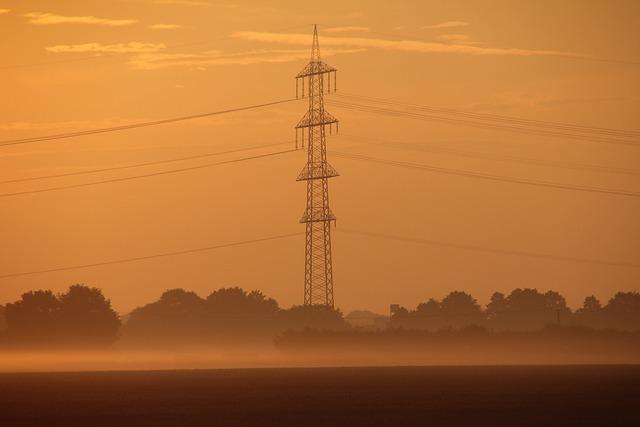 Strommast, Landline, Sunrise, Fog, Mood, Morgenrot
