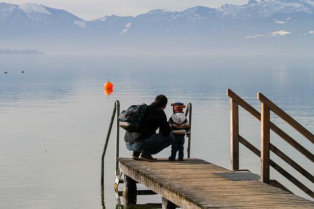Man, Child, Father, Lake, Fog, Mountains, Web