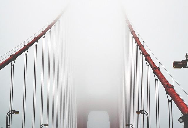 Architecture, Bridge, Foggy, Misty, Steel