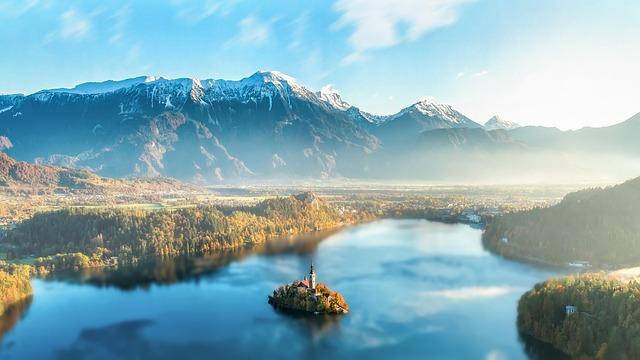 Mountains, Lake, Fog, Foggy, Haze, Misty, Mountainous