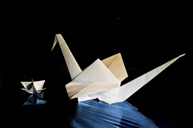 Origami, Swan, Paper, Kink, Fold, Effect, White