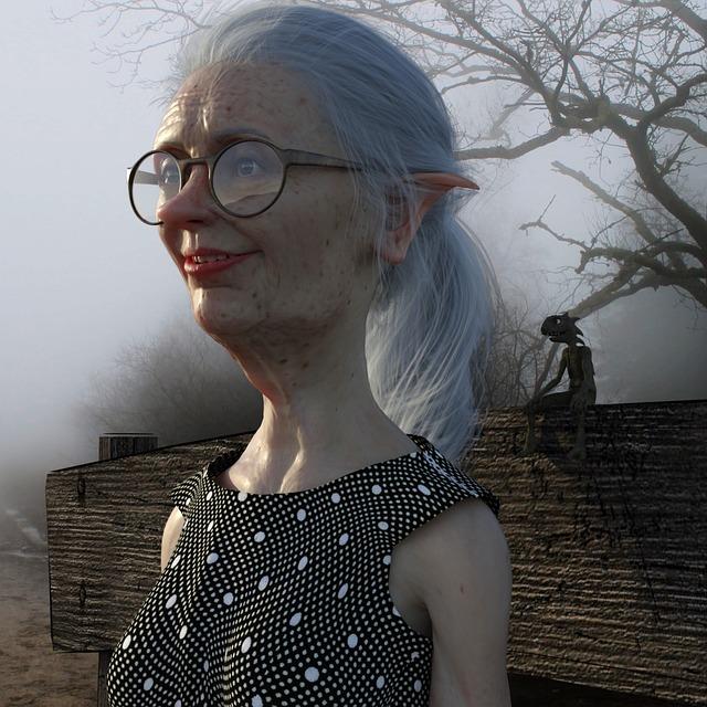 Portrait, Woman, Eleven, Fantasy, Fold, Glasses