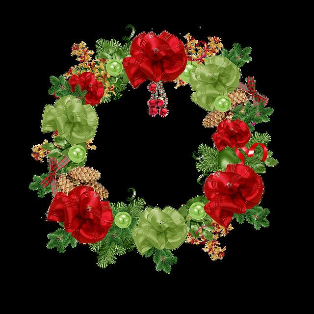 Crown, Christmas, Foliage, Green, Red, Bowls, Ribbon