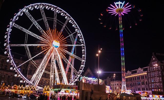 Amsterdam, Ferris Wheel, Night, Folk Festival