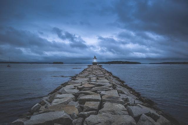 Lighthouse, Pier, Maine, Cloudy, Folk, Moody, Ocean