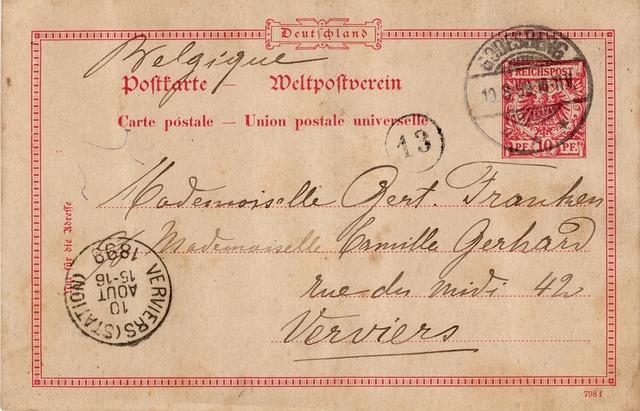 Postcard, Nostalgia, Old, Stamp, Germany, Font, 1899