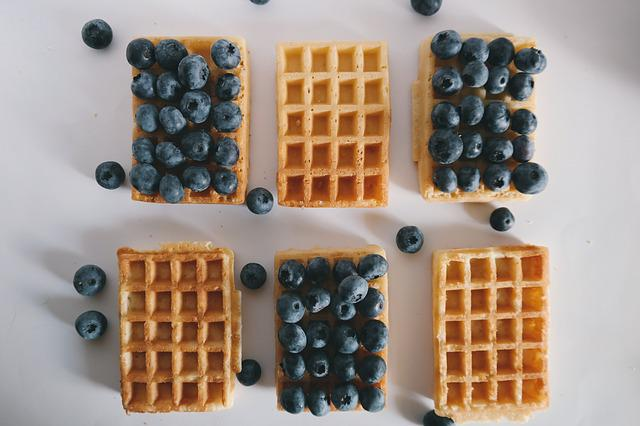 Berries, Blue, Blueberry, Danish Waffle, Food, Waffle