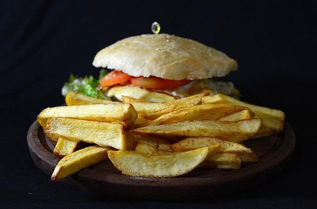 Burger, French Fries, Food