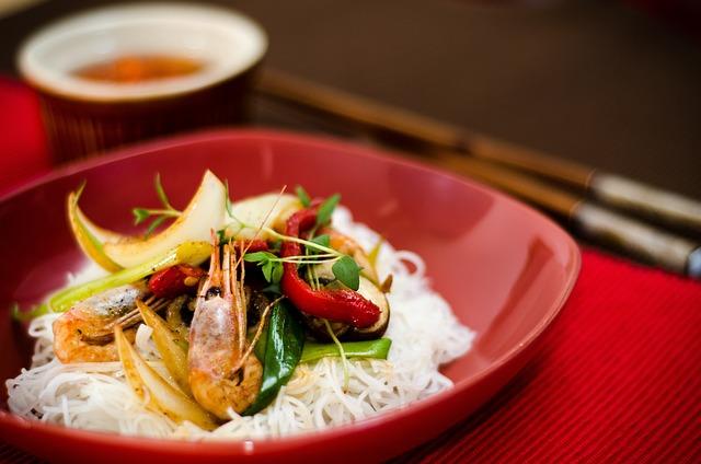 Food, Asian, Prawns, Noodles, Sticks, Rice, Eat, Shrimp