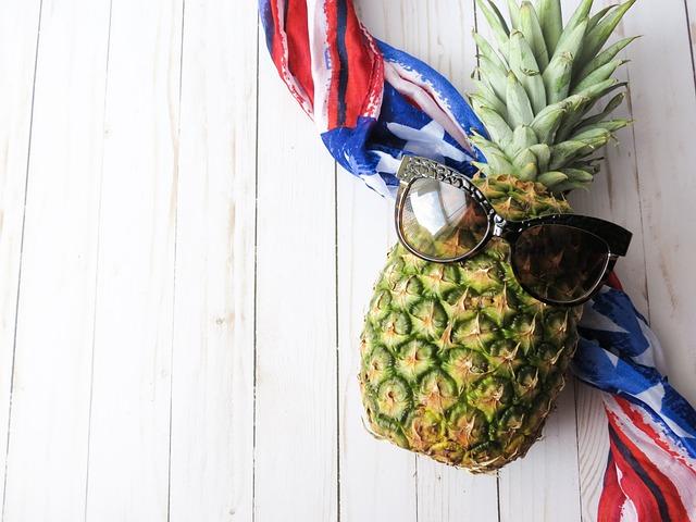 Fruit, Pineapple, American Flag, Food, Healthy, Fresh