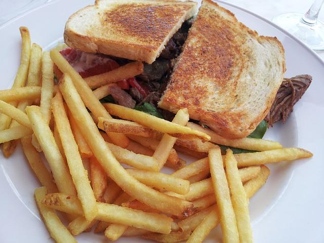 Sandwich, Lunch, Food, Fries