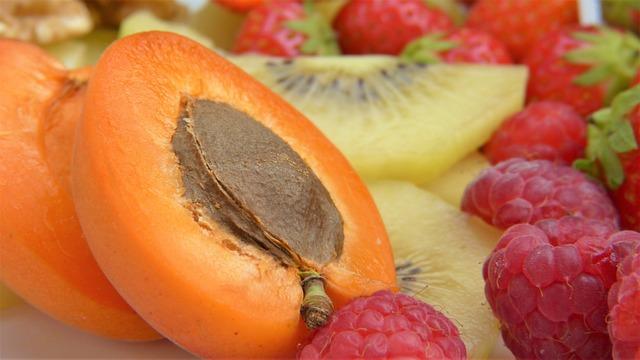 Apricot, Cut In Half, Nuclear, Orange, Fruit, Food