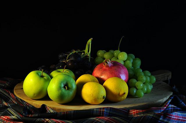 Fruit, Grapes, Lemon, Food, Apple, Pomegranate, Tray