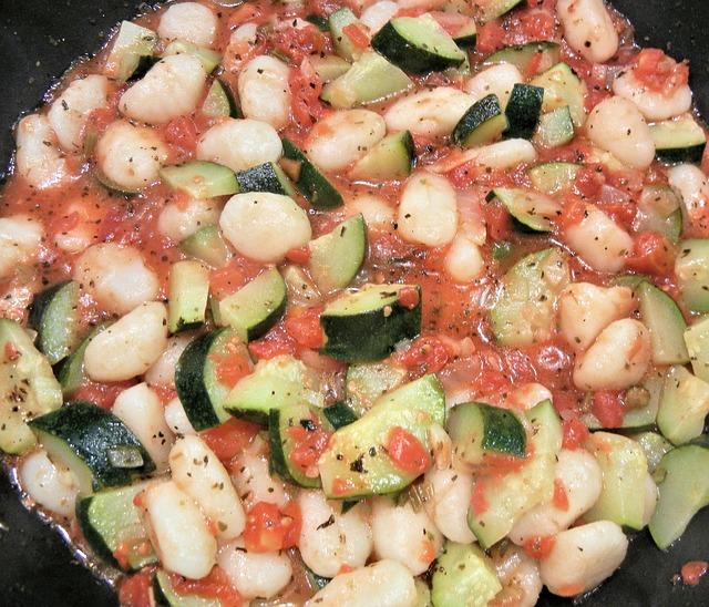 Gnocchi, Tomatoes, Zucchini, Buffalo Mozzarella, Food