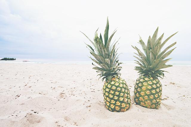 Beach, Coast, Food, Fruits, Healthy, Pineapples, Sand