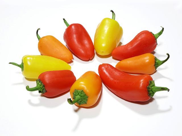 Pepper, Yellow, Red, Orange, Paprika, Salad, Food