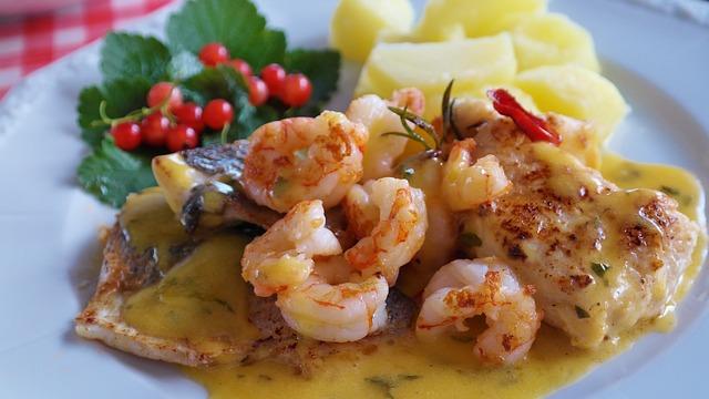 Fish, Fish Plate, Scampi, Potato, Food, Eat