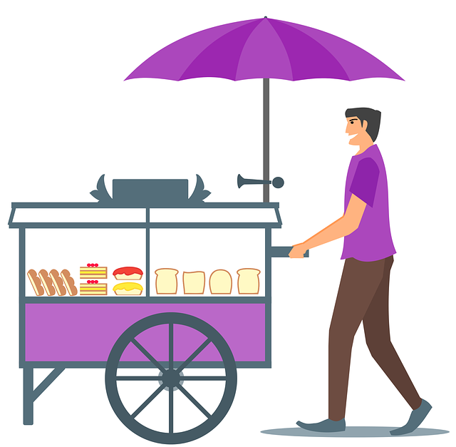 Bread, Cake, Seller, Food, Cart, Guy, Character