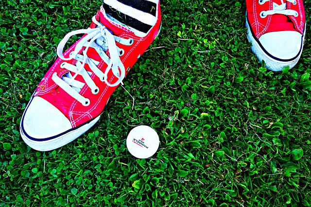 Foot, Standing, Sneakers, Grass, Golf Ball, Golf, Sock
