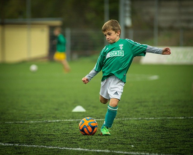 Child, Footballer, Kick, Backswing, Sphere, Football