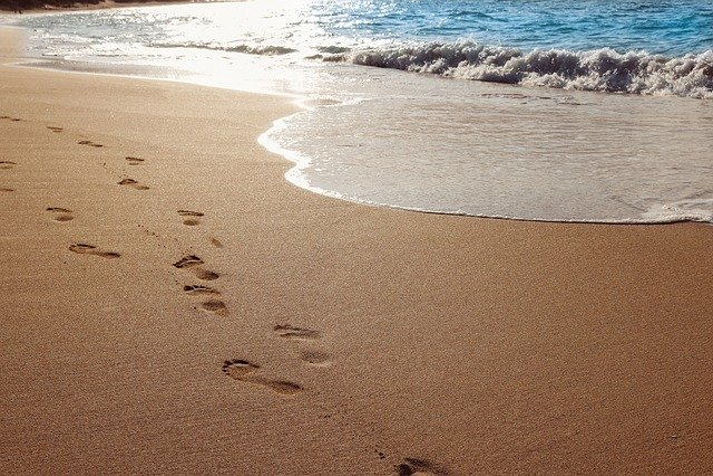 Sand, Beach, Ocean, Water, Footprints, Beach Sand