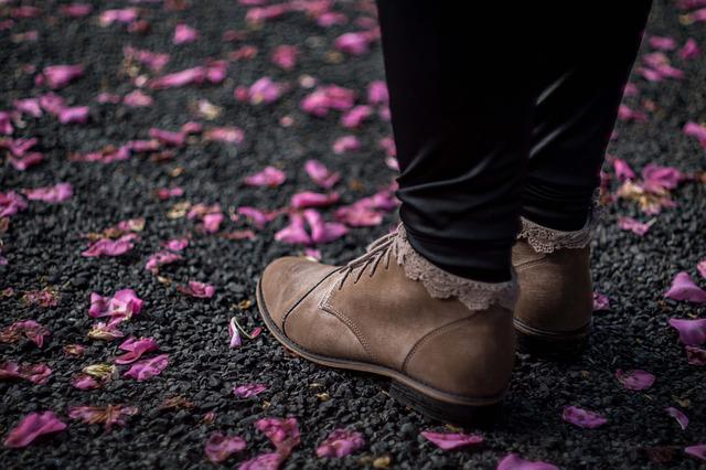 Boots, Feet, Footwear, Ground, Petals, Shoes