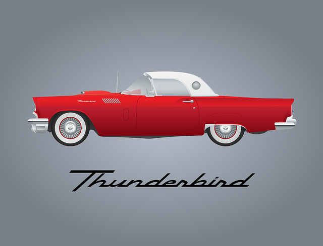 Car, Vintage, Automobile, Red, Ford, Thunderbird