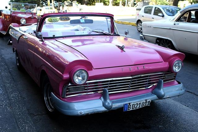 Cuba, Car, Ford, Pink, Taxi, Vintage, Havana, Old