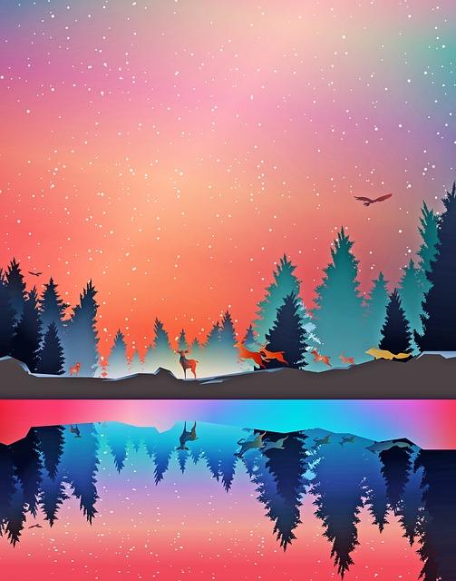 Winter Lake, Animals, Forest, Water, Snow, Deer, Fox