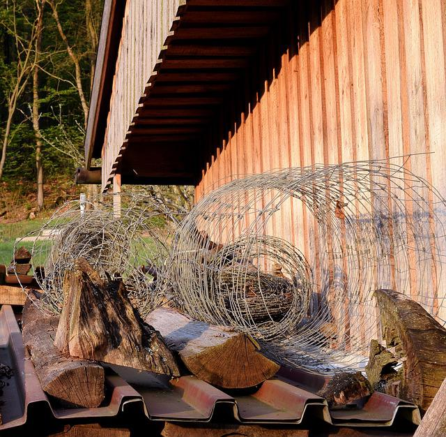 Barbed Wire, Wire, Log Cabin, Forest Area, Wood, Dusk