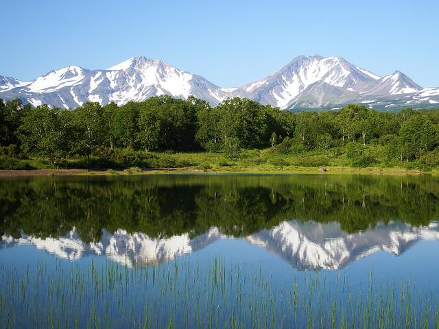 Forest Lake, Forest, Mountains, Volcanoes, Reflection