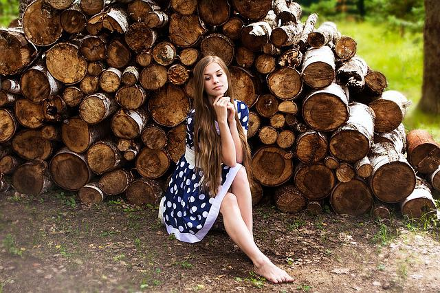Girl, Firewood, Forest, Tree