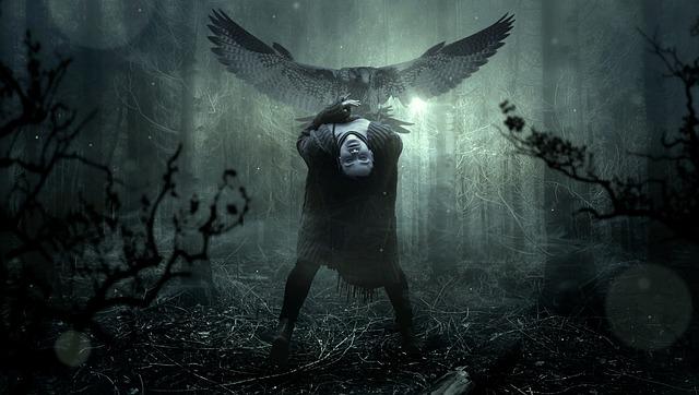 Fantasy, Forest, Creepy, Woman, Bird, Dark, Gloomy