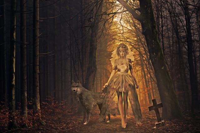 Halloween, Bride, Dead Bride, Tombstone, Forest, Mist