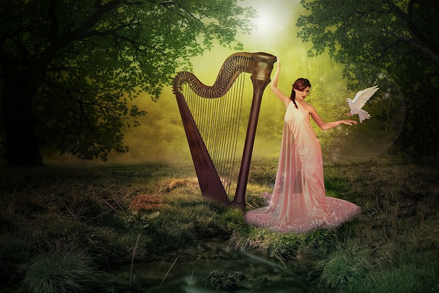 Harp, Forest, Fairy, Pigeon