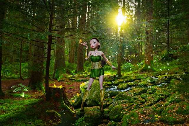 Forest, Girl, Trees, Frogs, Fantasy, Landscape