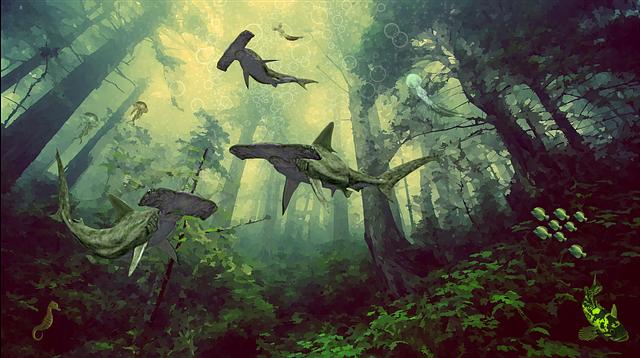 Forest, Submerged, Shark, Fish, Hammer, Medusa