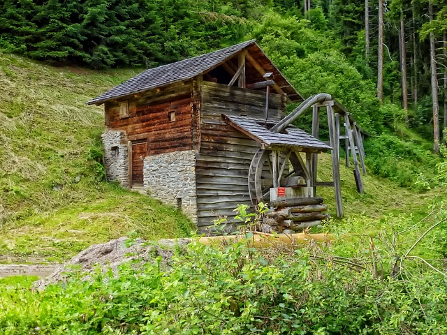 Germany, Grain Mill, Mill, Building, Wooden, Forest