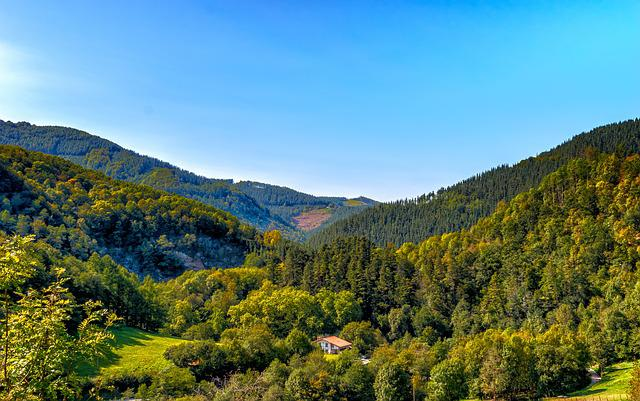 Hill, Valley, Landscape, Nature, Mountains, Sky, Forest